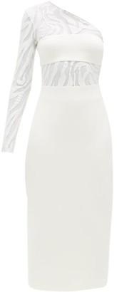 David Koma Zebra-embroidered Cotton-blend Dress - Womens - White