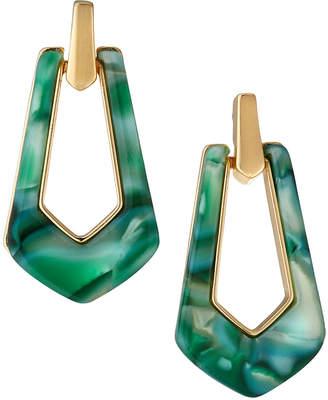 Max Studio Door-Knocker Earrings, Green