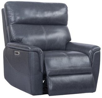 Winston Porter Hanish Leather Power Recliner Upholstery Color: Navy Blue
