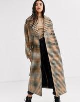Asos Design DESIGN belted coat in check