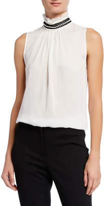 Nanette Lepore Nanette Embroidered High Neck Embellished Top