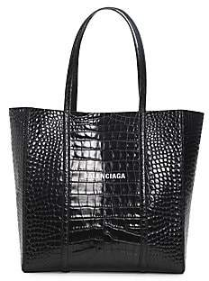 Balenciaga Women's Small Everyday Croc-Embossed Leather Tote