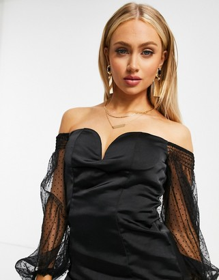 Rare London plunge organza sleeve satin mini dress in black