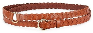 Frame Braided O-Buckle Double Wrap Leather Belt