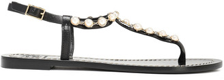 Tory Burch Faux Pearl-embellished Leather Sandals