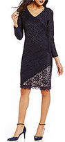 London Times Long Sleeve Metallic Pintuck Lace Sheath Dress