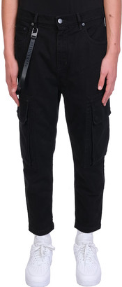 Helmut Lang Cropped Cargo Pants In Black Cotton