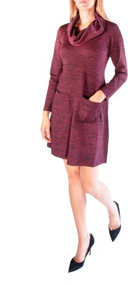 Nina Leonard Cowl Neck Pocket Sweater Dress