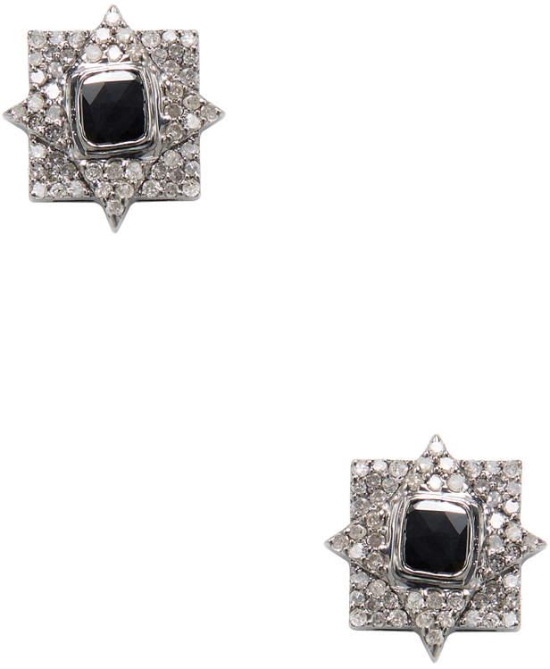 Artisan Women's 18K Gold Black & White Diamond Stud Earrings