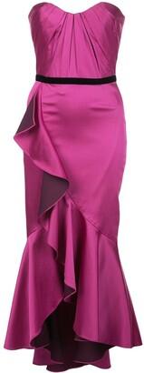 Marchesa Strapless Draped Midi Dress
