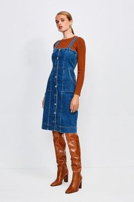 Karen Millen Popper Front Sleeveless Denim Dress