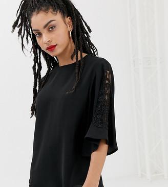 New Look embellished sleeve blouse in black