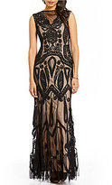 JS Collections Illusion V-Neck Soutache Mermaid Gown