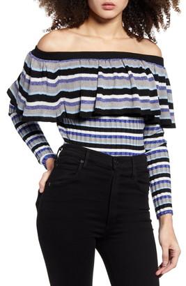 Endless Rose Stripe Off the Shoulder Sweater