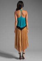 Tracy Reese Georgette Flyaway Tank Dress in Azure/Caramel