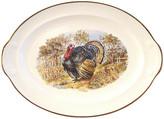 One Kings Lane Vintage Midcentury Tom Turkey Platter - Osprey Blu - off-white/multi