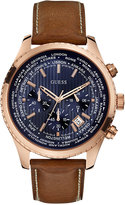 GUESS Men's Chronograph Honey Brown Leather Strap Watch 46mm U0500G1