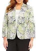 Kasper Plus Crepe Mosaic-Print Jacket