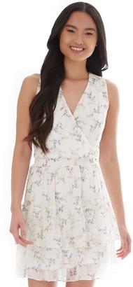 Iz Byer Juniors' Exposed Ruffles Floral Dress