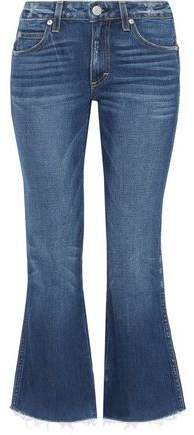 Amo Distressed Mid-Rise Kick-Flare Jeans