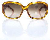 Salvatore Ferragamo Brown Embellished Plastic Gradient Oval Lens Sunglasses