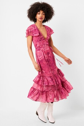 French Connection Endra Crinkle Printed Ruffle Dress