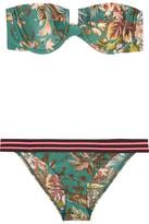 Zimmermann Tropicale Printed Bandeau Bikini - Green
