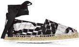 Pierre Hardy Cube Print Cotton and Leather Ankle Wrap Espadrille