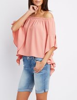 Charlotte Russe Off-The-Shoulder Cascade Sleeve Top