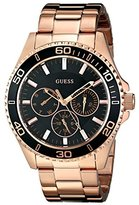 GUESS Women's U0231L7 Sporty Rose Gold-Tone Watch with Black Multi-Function Dial