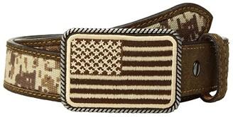 Ariat Sport Patriot w/ USA Flag Buckle Belt (Little Kids/Big Kids) (Med Brown) Men's Belts