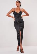 Missguided Sofia Richie X Black Satin Button Up Slip Dress