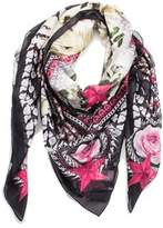 Givenchy Women's Chain Border Floral Pattern Cotton Scarf Large.
