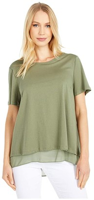 MICHAEL Michael Kors Back Cutout Short Sleeve Top (Army Green) Women's Clothing