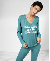 Express Mornings Are For Mimosas Deep V-neck Long Sleeve Tee