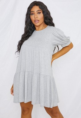 Missguided Plus Size Gray Puff Sleeve Smock Dress