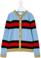 Gucci Kids Web striped cable knit cardigan