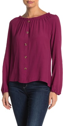 Elodie K Smocked Neck Front Button Top