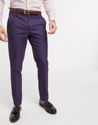 ASOS DESIGN wedding skinny wool mix suit pants in soft berry twill