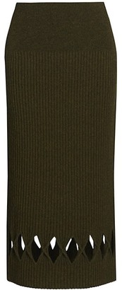 Victoria Beckham Ribbed Wool-Blend Diamond Cutout Pencil Skirt