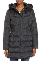 Via Spiga Waist Detail Down & Feather Fill Coat with Faux Fur Trim Hood