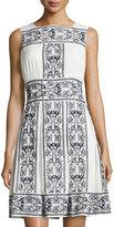 Max Studio Cotton Embroidered Dress, Dark Navy/Off White
