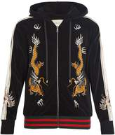 Gucci Dragon-embroidered hooded velvet sweatshirt