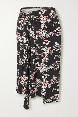 Paco Rabanne Gathered Floral-print Stretch-jersey Wrap Midi Skirt - Black