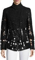 Donna Karan Embellished Pea Jacket W/Belt, Black