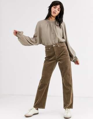 Weekday Row corduroy trousers in mole grey
