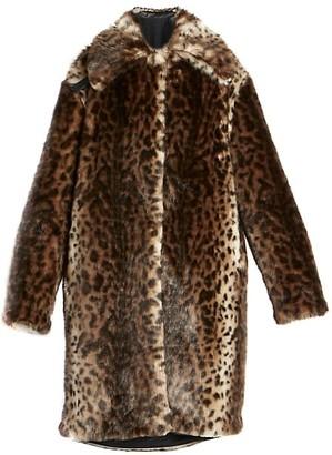 Rokh Leopard-Print Faux Fur Coat