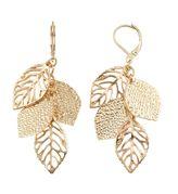 Textured & Cutout Leaf Cluster Drop Earrings