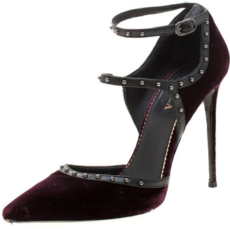 Le Silla Burgundy Velvet And Leather Studded Ankle Strap Pumps Size 39