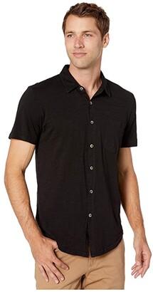Mod-o-doc Montana Short Sleeve Button Front Shirt (Black 1) Men's Short Sleeve Button Up